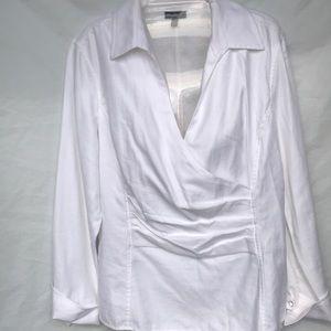 Talbots Long sleeve white wrap style blouse Sz 12